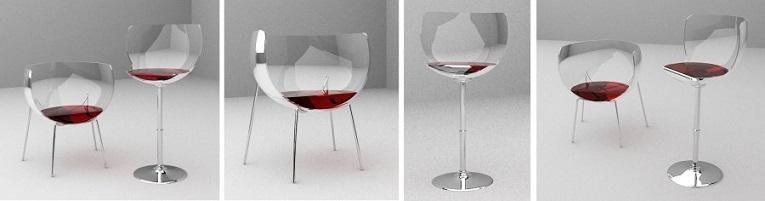 Chaises en forme de verre de vin