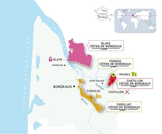 Carte Union des Côtes de Bordeaux